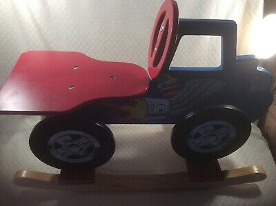 Discovery Toys Wooden Rocker Truck Rocking Car Fiery Engine Blue Red Souped Up