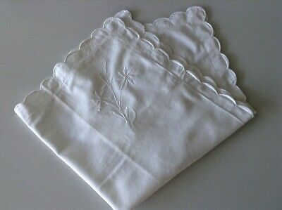 Vintage French pillow sham lovely scalloped edge floral embroidery white cotton