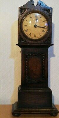 Antique oak miniature long case clock, 'X. L. REGISTERED' British Manufacture