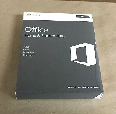 Microsoft Office Home & Student 2016 for Mac 1 User License Product Key Code NEW
