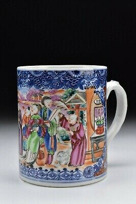 Chinese Export Rose Mandarin Porcelain Mug with Figures & Animals 18th Century