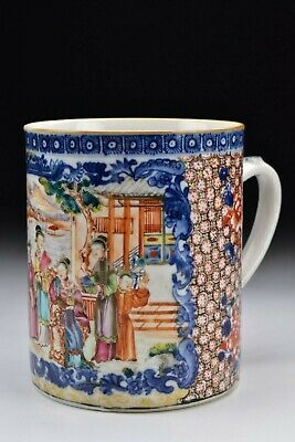 Chinese Export Rose Mandarin Porcelain Mug with Figures & Ducks 18th Century
