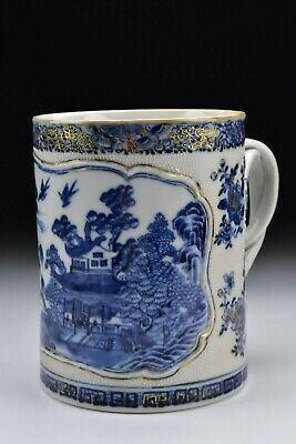 Large Chinese Export Nanking Porcelain Mug with Chicken Skin 18th Century #2