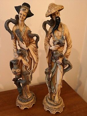Pair of very large Chinese figures Asian/Oriental Antique Chinese Statues used.