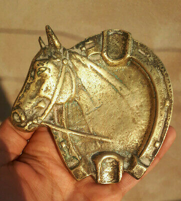 Ancient antique authentic Bronze copper ashtray horse figure quality Artifact