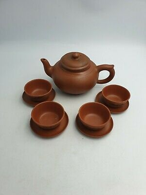 Vintage Chinese Pottery Red Clay Lidded Teapot 4 Tea Cups Saucers Dragon 9Pc Set