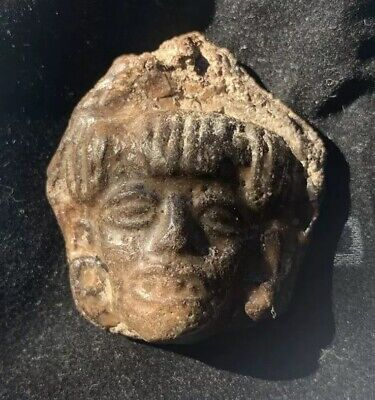 Ancient Pre Columbian Stone Carved Head Effigy Relic Artifact  _Aztec_Mayan_Inca