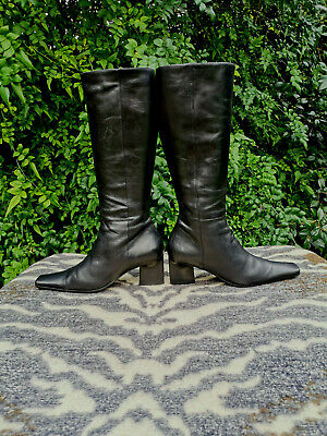 Vintage black leather knee high made in Italy boots UK size 6.5 EU 40