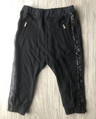 CREWCUTS Girls Black Joggers With Zippered Pockets Sequins Size 3