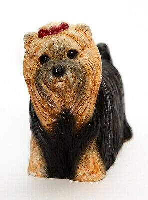Silky Terrier Yorkshire Stone Critters Collection Brown Figurine Vintage 1984