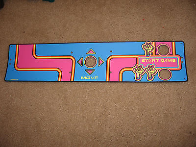 1981 MIDWAY MS PAC MAN Upright Arcade Control Panel Overlay  NAMCO REPRODUCTION