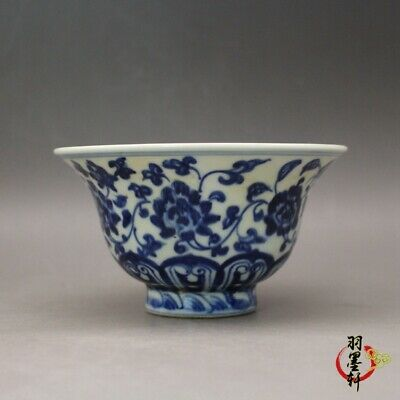 """Old Chinese Yongle marked blue and white Porcelain hand painted flower cup 4.9"""""""