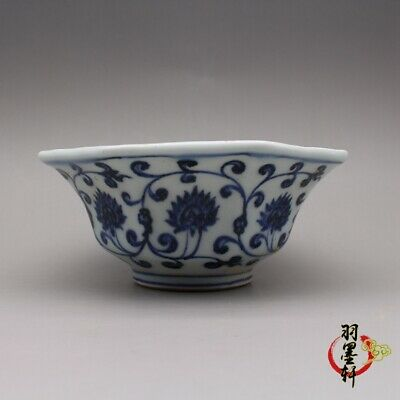 """Xuande marked Blue and white Porcelain hand painted lotus Eight square bowl 5.1"""""""