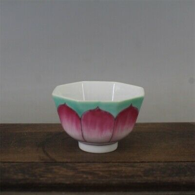 Tongzhi marked famille rose Porcelain painted lotus Eight square tea cup 2.4""