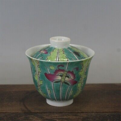 Tongzhi marked famille rose Porcelain painted Chinese cabbage Butterfly tea cup