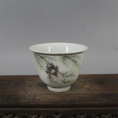 """Old Chinese Guangxu famille rose Porcelain hand painting dragon Phoenix cup 3"""""""