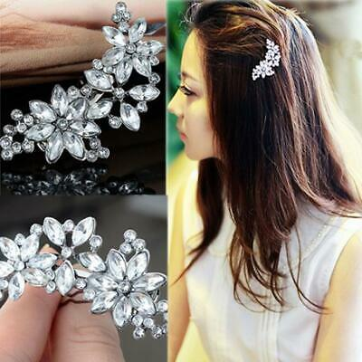 Womens Rhinestone Flower Crystal Hair Clip Bride Bridesmaid Hairpin Comb Jewelry