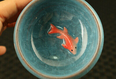 chinese blue porcelain Handpaint gold fish tea cup bowl noble decor collect gift