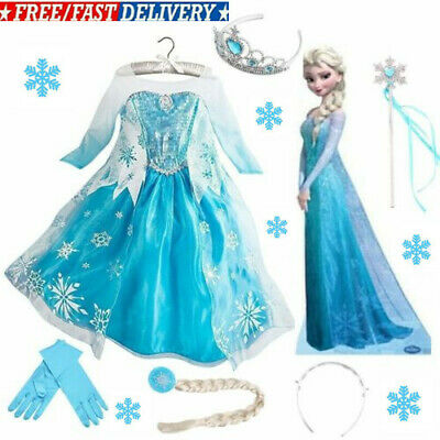 Girls Princess Queen Elsa dress Cosplay Costume Party Fancy Dresses Outfit UK