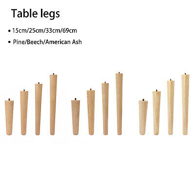 4PC Wooden Table Legs Tapered Pine Beech Ash Table Chair Stool Chest Sofa 4 Size