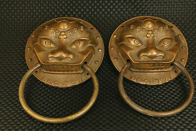 Big pair Chinese old brass hand casting fortune leo Statue door holder home deco