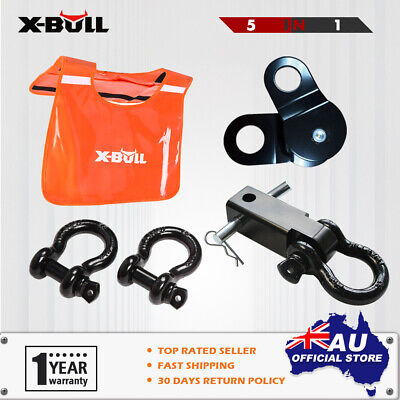 X-BULL Winch Damper Bow Shackles Pulley Block Hitch Receiver Snatch Strap 4WD4X4