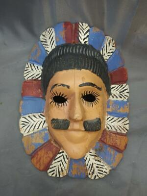 Vintage Hand Carved Painted Wood Wooden Carving Ethnic Tribal Art Mask Face Man