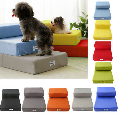 Folding Pet Stairs 2 Step Dog Cat Training Steps Safe Ramp Foam Couch Cover