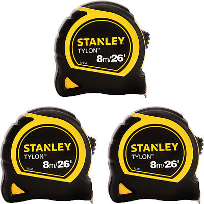 3 x Stanley Pocket Tape 8M//26Ft 1-30-656 with Tylon Blade Loose