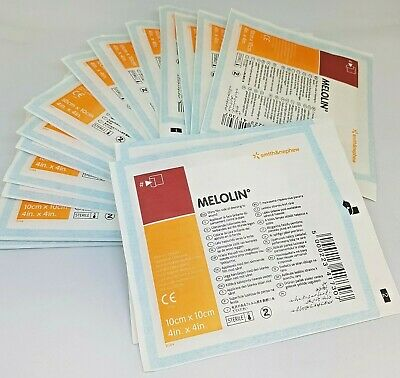 Melolin 10cm x 10cm x 10 Sterile First Aid dressing pad Non Adhesive Burns Cuts