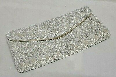 Former Bag Evening Marriage Silk Embroidered Pearl Glass Frederick & Nelson