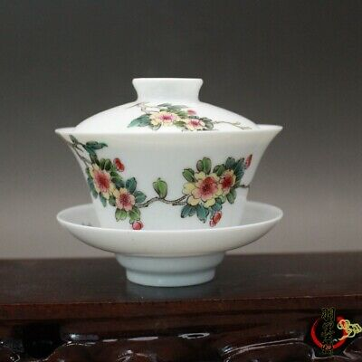 """Chinese Republic China famille rose Porcelain hand painting Flower tea cup 3.5"""""""