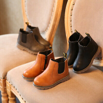 Winter Warm Soft Kids Girls Boys Children Flat Sole PU Leather Ankle Boots Shoes