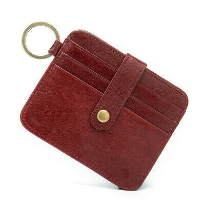 NEW Real Leather Womens Notes & Credit Card Holder w/ Key Ring Travel Wallet