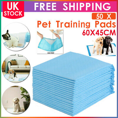 50 Large Puppy Training Trainer Pads Toilet Pee Wee Mats Dog Cat 60X45 Cm Pet