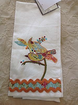 NEW Artistic Accents Cotton Kitchen Tea Towel Embroidered Rooster