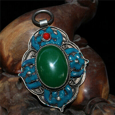 """2.56"""" Exquisite Chinese inlay Emerald cloisonne enamel Handmade silver Pendant"""