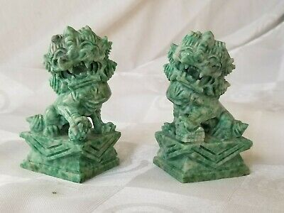 Pair Vintage Ornately Hand Carved Stone Foo Dogs Jade Color Green White Signed