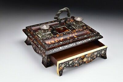 Chinese Faux Tortoise Shell Inkstand with Mother of Pearl Inlay 19th Century