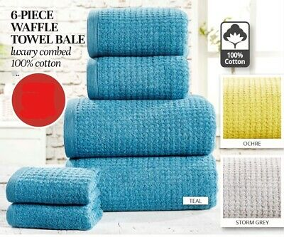 6 Piece Waffle Towel Bale, combed 100% Cotton, Teal, Ochre, Storm Grey