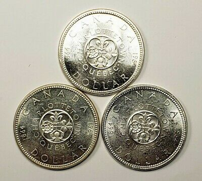 Canada Lot Of 3 1964 Silver $1.00 One Dollar Coins