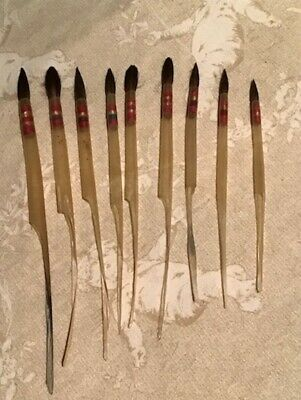 VINTAGE FRENCH ARTIST QUILL FERRULED HANDLE-LESS PAINT BRUSHES New Old Stock