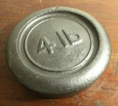 Vintage Collectable Cast Iron 4lb Round Weight - Fab Doorstop or Paperweight!