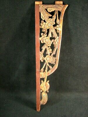 Antique Chinese 150 Year Old Ching Dynasty Hand Carved Wooden Carving Floral