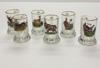 Wildlife Shot Glasses Gold Rimmed Handle Set Of 6