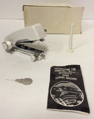 "Vintage Sun  4"" Mini Sewing Machine Hand Held Automatic Feed Instruction"