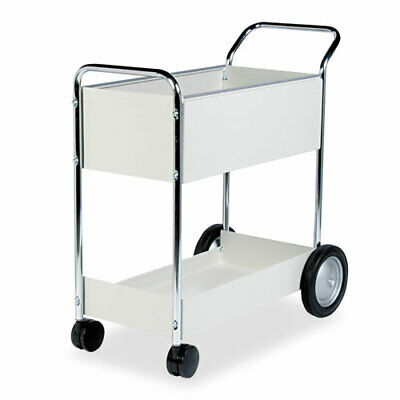 Fellowes Steel Mail Cart, 150-Folder Capacity, 20-1/2 x 38-1/2 x 39-1/4, Dove Gr