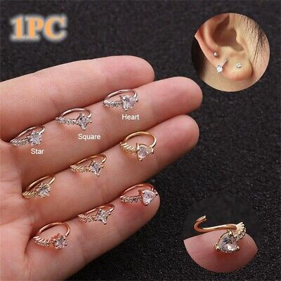 Labrets Lip Surgical Steel Ear Studs Tragus Earrings Zircon Cartilage Helix