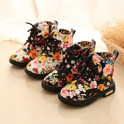 Children Kids Girls Lace Up Winter Ankle Boots Casual Non-skid Warm Booties Shoe