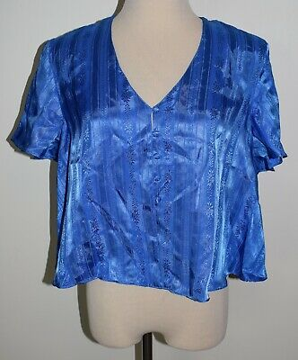 New Vintage Victorias Secret Small Blue Satin Sleep Top Button Pajama Shirt VS